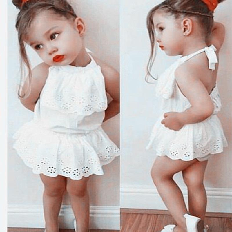 596e57318 Ropita Para Bebe Niña Vestido Casual Blanco Hermosa Moda