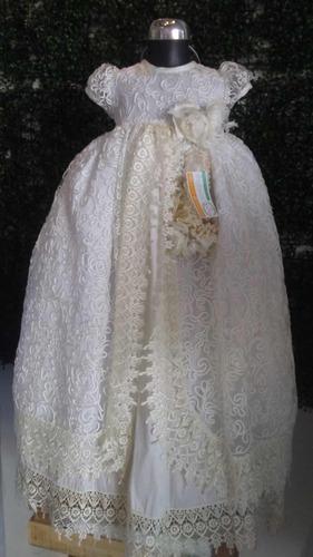ropon para bautizo de niña color blanco unitalla guipur