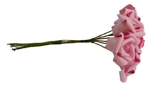 rosa artificial 4 buquê rosa flor p/ decoração festa