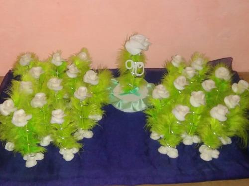 rosa de porcelana fria  pimpollo pluma souvenir 15 x10 unid