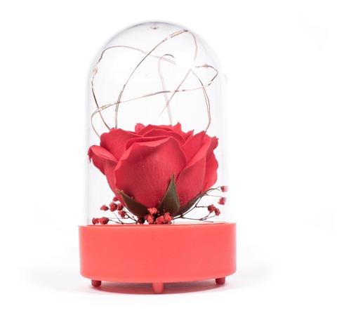 rosa eterna con luz lampara centro de mesa eventos l11