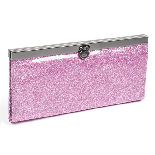 rosa nylon forro tapa hebilla mano bolso monedero para dama