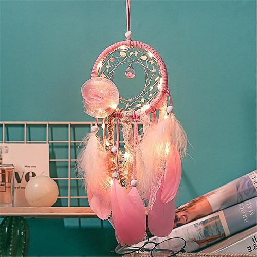rosa pluma viento chime atrapasueños casero romántico de
