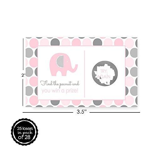 rosa y gris elefante rascar tarjetas baby shower 28 pc. mod