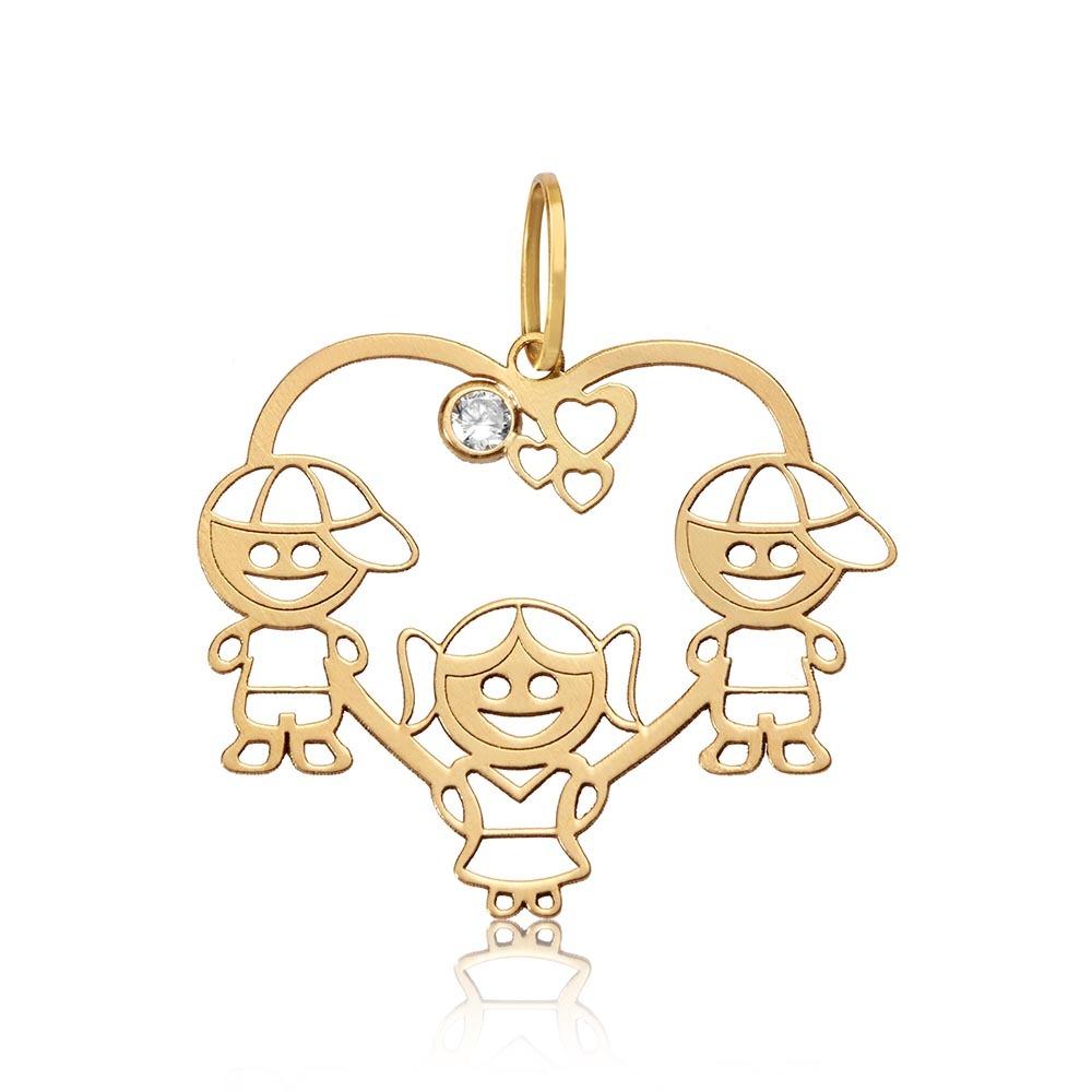 rosana joias pingente em ouro 18k uma menina e dois meninos. Carregando  zoom. 294412f6b8