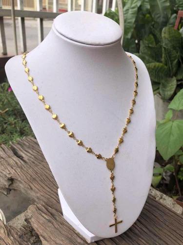 rosario acero inoxidable dorado y plateado para damas