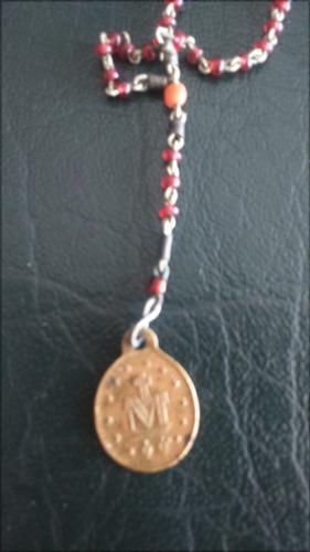 rosario antiguo de 1880 con virgen de la medalla milagrosa