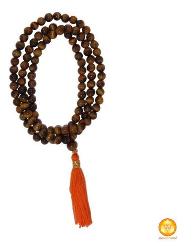 rosario budista, o japa mala de ojo de tigre natural  de 6mm