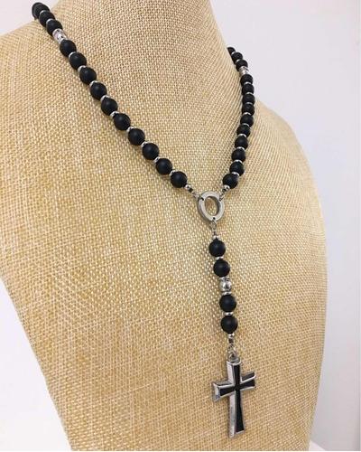 rosario collar minimalista p/ hombre 100% acero -onix deluxe