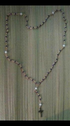 rosario con balines y cristal diseño unico keepwish