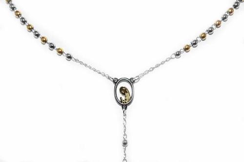 rosario de acero con  baño de oro  guilad ymo06