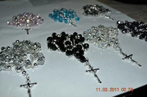 rosario de cristal  bañado en plata .925 recuerdos bolos mmu