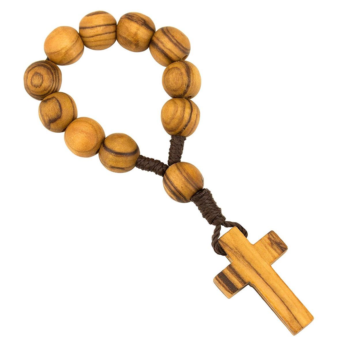 dd454d3a117 rosario de dedo de madera de olivo católico con cuentas d... Cargando zoom.
