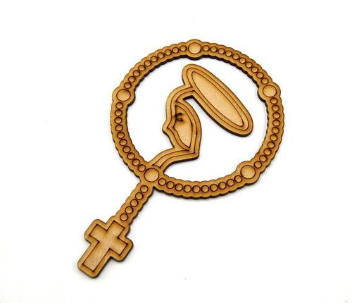 rosario de madera recuerdos bautizo mdf 15cm