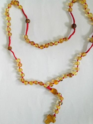 rosario de àmbar de chiapas genuino tejido a mano