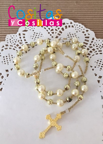 rosario de perlas recuerdo bolo virgen cruz decenario