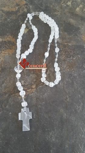 rosario de piedra de ónix natural 48 cm largo. recuerdo