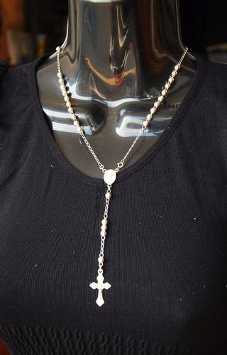 rosario de plata bolita 4 milimetros