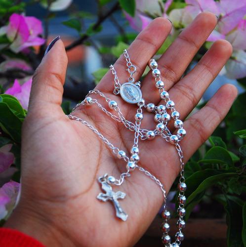 rosario de plata bolita 5 milimetros