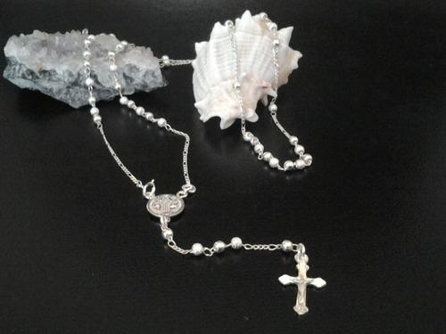 rosario de plata solida 925 bolitas adornadoas de taxco