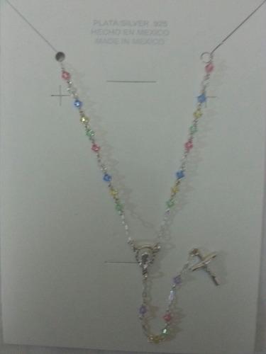 rosario de plata y swarovsky