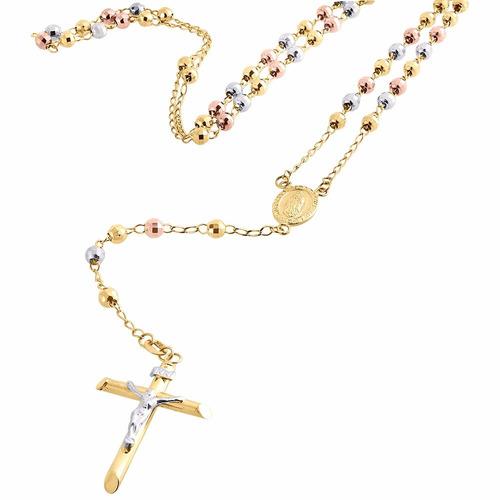 rosario  oro laminado 14k 3 tonos