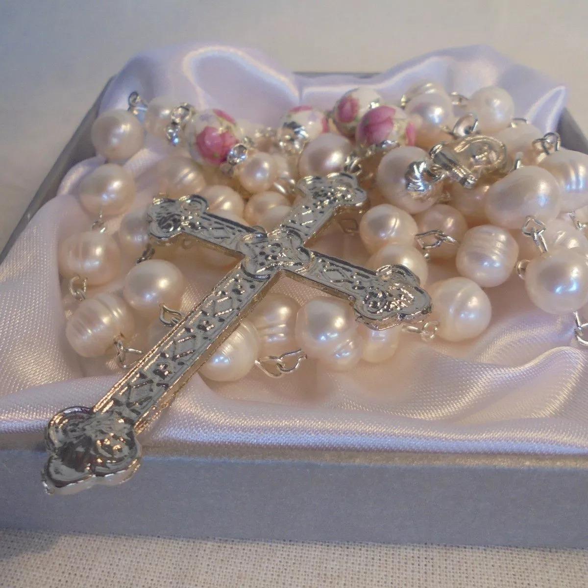 5c07a1e09372 rosario perlas cultivadas - cuentas cerámica flores rosa. Cargando zoom.