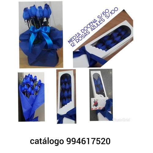 rosas azules feliz dia mujer