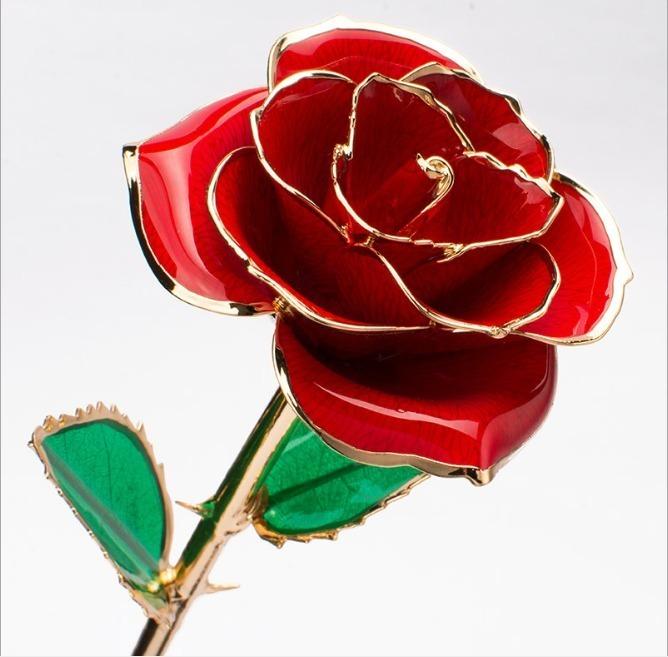 Rosas Rojas Eternas Lindas Bonitas Naturales Bañadas En Oro De 24k