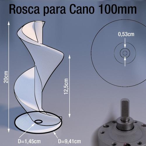 rosca infinita tubo 100mm x 20cm alimentos / ração + motor
