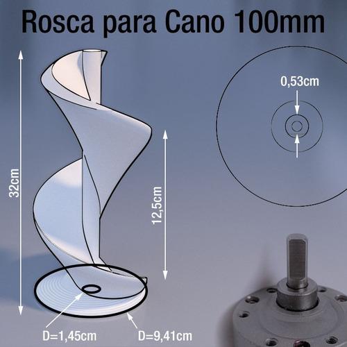 rosca infinita tubo 100mm x 32cm alimentos / ração + motor
