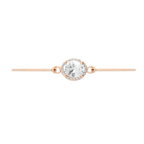 rose gold bangle with oval crystal