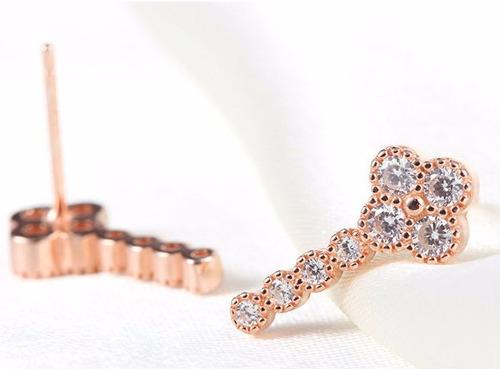 rose gold long clover earrings