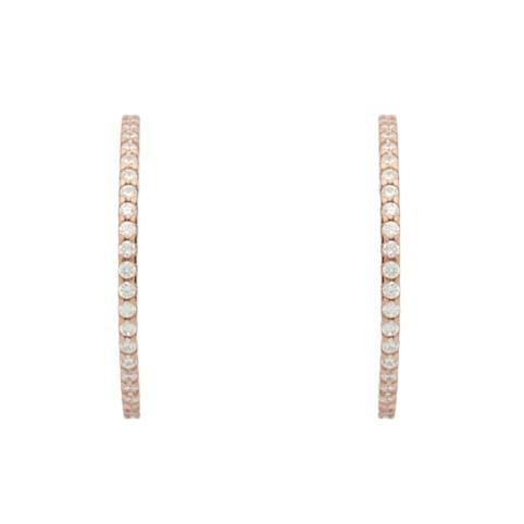 rose gold plated 1.25mm cz hoop earrings