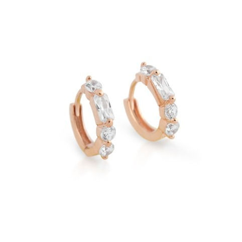 rose gold plated 14mm round huggie cz earrings