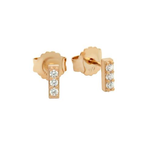rose gold plated cz bar stud earrings