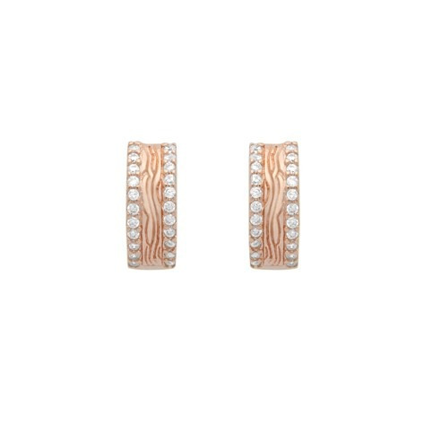 rose gold plated double row cz 14mm round huggie earrings