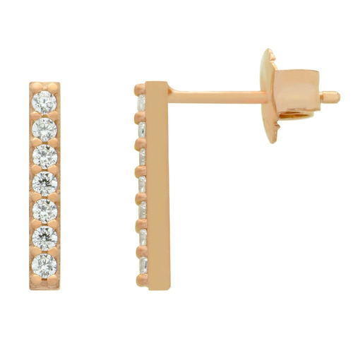 rose gold plated earrings with small cz pave bar