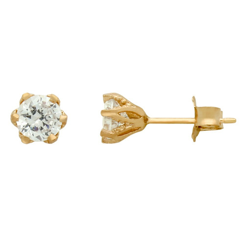 rose gold plated floral design small cz stud earrings