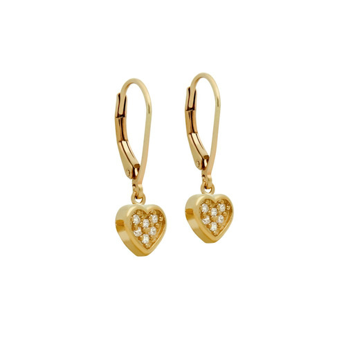 rose gold plated heart cz cluster leverback dangle earrings