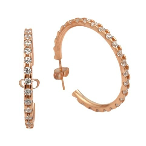 rose gold plated large eternity cz earrings-27mm