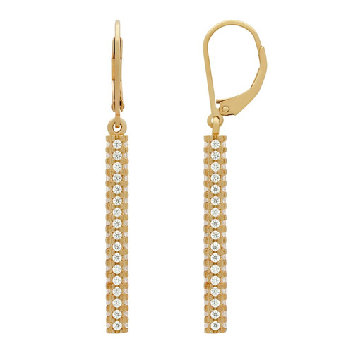 rose gold plated leverback earrings with quad-row cz bar