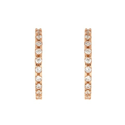 rose gold plated medium eternity cz earrings-22mm