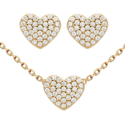rose gold plated set:heart shaped cz pave earring & necklace