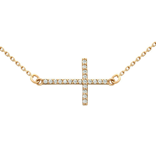 rose gold plated sideways cross cz necklace 16  + 2