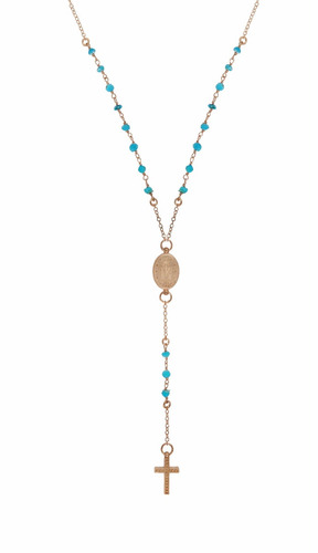 rose gold plated turquoise rosary necklace 18  + 2