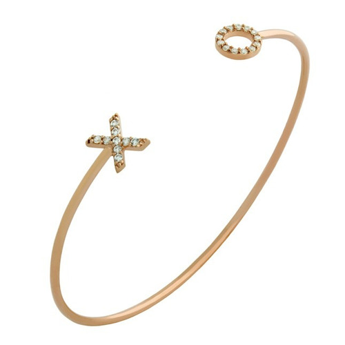 rose gold plated wire xo bangle