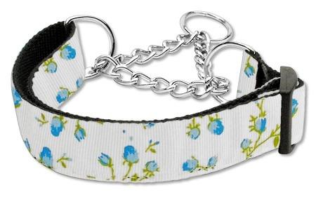 roses nylon ribbon collar martingale medio azul