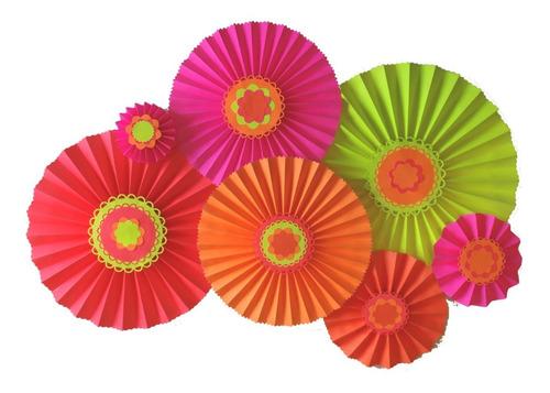 rosetas de cartulina colores flúo abanicos