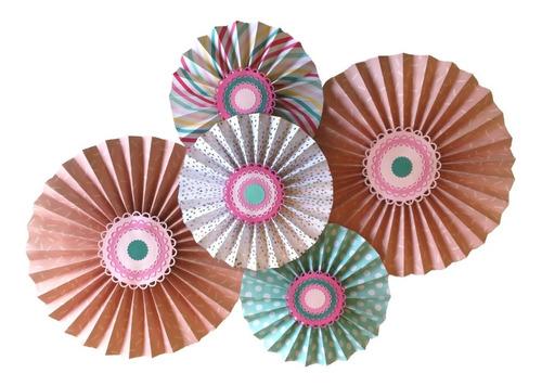rosetas de papel + guirnalda mini rosetas
